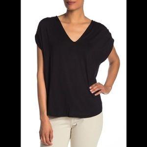 Ruched V-neck T-shirt